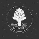 Modello di logo del menu del caffè del vegano Progettazione dell'alimento di vettore Fotografie Stock