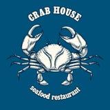 Modello di logo del ristorante dei frutti di mare con il granchio Fotografia Stock Libera da Diritti
