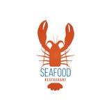 Modello di logo del ristorante dei frutti di mare con l'aragosta Immagine Stock