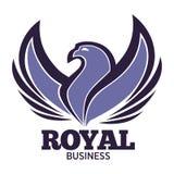 Modello di logo dell'uccello di Phoenix o dell'aquila di fantasia per la società dell'innovazione o di sicurezza Fotografia Stock