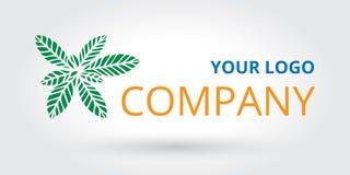 Modello di logo della foglia con il nome di società Fotografia Stock