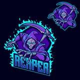 Modello di logo della mascotte di gioco del esport di ninja del reaper torvo royalty illustrazione gratis