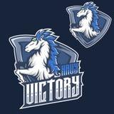 Modello di logo della mascotte di gioco del esport della testa di cavallo del mustang della mascotte f royalty illustrazione gratis