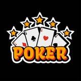 Modello di logo della mazza del casinò Carte di gioco e stelle dorate Fotografie Stock Libere da Diritti