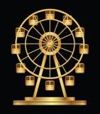 Modello di logo della ruota di ferris dell'oro su un fondo nero Immagini Stock Libere da Diritti
