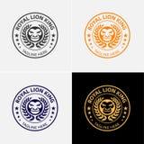 Modello di logo di Lion King Immagine Stock