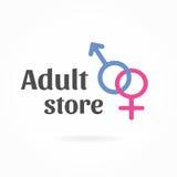 Modello di logo di simbolo di genere, icona del sexshop Fotografie Stock Libere da Diritti