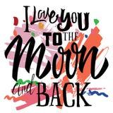 Modello di logo di stampa della maglietta Ti amo alla luna ed alla parte posteriore Fotografia Stock Libera da Diritti