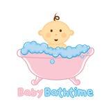 Modello di logo di tempo del bagno del bambino, bambino che bagna logo, doccia di bambino illustrazione vettoriale