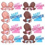 Modello di logo per il ragazzo, la ragazza ed i gemelli della doccia di bambino Immagini Stock Libere da Diritti