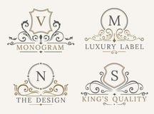 Modello di lusso di logo Segno di affari dello schermo per l'insegna Ristorante di identità del monogramma, hotel, boutique, caff Immagini Stock Libere da Diritti