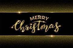 Modello di lusso di progettazione di Natale Vector il Buon Natale mandano un sms a fatto di scintillio dorato e del telaio dorato royalty illustrazione gratis