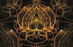 Modello di lusso senza cuciture con oro Lotus con il modello di boho Fotografia Stock