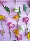 Modello di Macaron su un fiore di legno rosa di alstroemeria della confetteria del fondo Fotografia Stock