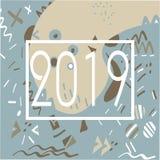 modello di Memphis da 2019 anni delle forme geometriche per il tessuto e le cartoline illustrazione di stock
