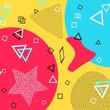 Modello di Memphis delle forme geometriche per il tessuto e le cartoline Illustrazione di vettore Stile dei pantaloni a vita bass illustrazione di stock