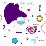 Modello di Memphis delle forme geometriche per il tessuto e le cartoline Manifesto dei pantaloni a vita bassa, fondo succoso e lu illustrazione di stock