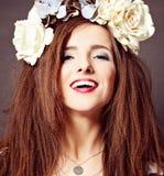 Modello di moda allegro Woman Fotografie Stock Libere da Diritti