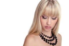 Modello di moda con capelli diritti lunghi Fotografia Stock