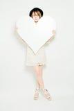Modello di moda con grande cuore Fotografia Stock Libera da Diritti