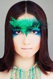 Modello di moda della donna di Yound Fronte con trucco Fotografie Stock Libere da Diritti