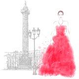 Modello di moda della giovane donna a Parigi Fotografia Stock