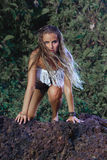 Modello di moda di stile di hippy Fotografia Stock Libera da Diritti