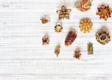 Modello di moda Jewelry Fondo d'annata dei gioielli Bei fibula ed orecchini luminosi del cristallo di rocca su legno bianco Dispo Fotografie Stock
