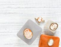 Modello di moda Jewelry Fondo d'annata dei gioielli Bei fibule del cammeo e contenitori di gioielli d'annata su fondo bianco Disp Fotografie Stock