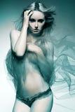 Modello di modo attraente con capelli biondi lunghi. Fotografia Stock Libera da Diritti