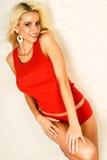 Modello di modo biondo sexy della donna in biancheria intima Fotografie Stock