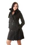 Modello di modo in cappotto nero Fotografia Stock