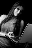 Modello di modo - computer portatile Fotografie Stock