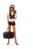 Modello di modo con il grande sacchetto. Immagine Stock