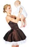 Modello di modo con un bambino Immagini Stock