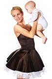 Modello di modo con un bambino Fotografie Stock