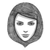 Modello di modo disegnato a mano Fotografia Stock