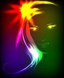 Modello di modo disegnato a mano da un neon. Fotografie Stock Libere da Diritti