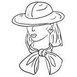 Modello di modo disegnato a mano. Fronte della donna Fotografie Stock Libere da Diritti