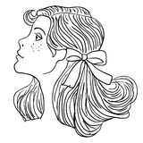 Modello di modo disegnato a mano. Fronte della donna Fotografia Stock