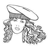 Modello di modo disegnato a mano. Fronte della donna Immagini Stock
