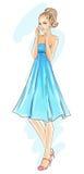 Modello di modo disegnato a mano in vestito blu Fotografia Stock