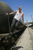 Modello di modo maschio sul treno Immagine Stock Libera da Diritti