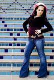 Modello di modo punk di Goth Fotografie Stock Libere da Diritti