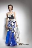 Modello di modo in un costume insolito dei collegare Fotografia Stock Libera da Diritti