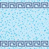 Modello di mosaico blu e beige della piastrella di ceramica Fotografia Stock