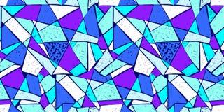 Modello di mosaico delle mattonelle rotte Modello disegnato a mano senza cuciture con gli indicatori Tendenza dello stile di Memp Immagine Stock