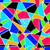Modello di mosaico delle mattonelle rotte Modello disegnato a mano senza cuciture con gli indicatori Tendenza dello stile di Memp Immagini Stock