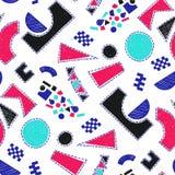 Modello di mosaico delle mattonelle rotte Modello disegnato a mano senza cuciture con gli indicatori Tendenza dello stile di Memp Immagini Stock Libere da Diritti