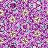 Modello di mosaico floreale del caleidoscopio continuo su fondo rosa e viola Fotografia Stock